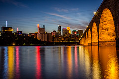 Stone Arch Bridge (jamin1317) Tags: stonearchbridge bridge mississippiriver downtown skyline night longexposure lights reflection water architecture
