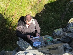 4881 Another geocache bites the dust (Andy - Daft as a brush - don't ask!) Tags: 20161009 aaa brian cwmorthin geocache geocacheevent ggg iii industrialarcheology internationalearthcacheday lll lostnwet male man mmm people person ppp qqq quarry quarrylevels quarryworkings tanygrisiau walk www