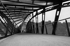Bridge to Public Fishing Pier, Seattle (vaneebs) Tags: monochrome blackandwhite black white bw street seattle bridge contrast portrait architecture city