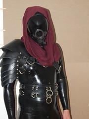 Latex Quarian Bondage Suit (AgentDrow) Tags: latex catsuit straps armor boots cowl