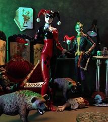 Nuclear Family (MaxxieJames) Tags: harley quinn joker hyena hyenas bud lou dc action figure figures toy toys batman arkham asylum city knight gotham