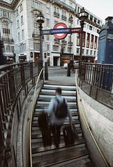Picadilly Circus, London | UK (William Self) Tags: london england uk britain unitedkingdom sony a6300 2016 autumn londontransport entrance subway tube stairs commuter luggage