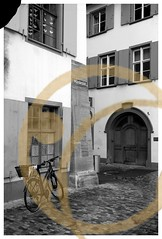 BASEL, SWITZERLAND (posterboy2007) Tags: basel switzerland swiss rain building cobblestone bicycle architecture fx coffee