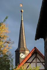 Three on top (:Linda:) Tags: sky bird clock church germany three village cloudy 2006 thuringia weathervane spitz halftimbered glockenturm topbird brden peakish slatesingled