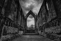 Bolton Abbey Ruin (Jemma Graham) Tags: england sky blackandwhite monochrome ruins unitedkingdom britain interior yorkshire ruin stormy spooky monastery hdr priory skipton boltonabbey wharfe