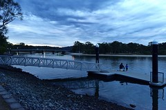 Fishing with Dad at Twilight (armct) Tags: fishing father child creek serene pontoon reflection evening twilight friendship relationship clouds