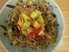 Spaghetti Squash Mexicanan with Tropical Avocado Salsa Fresca (dimsimkitty) Tags: veganomicon