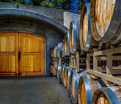 Barrels (evanffitzer) Tags: winery chapel wine barrels canoneos60d oak doors okanagan oliver outdoors aging cooper stack cellar evan evanfitzer britishcolumbia canada wood grain bunker cool