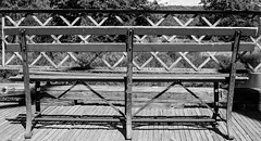 Bench Lines And Angles (Catskills Photography) Tags: bench bridge lines angles hbm blackandwhite canon24mmf28stmlens abandoned