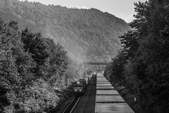 Working Upgrade (Conrail4ever) Tags: ge emd pennsylvania train trains mountains trees locomotives c449w black white photo