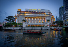 The Fullerton Hotel (teemu.jpeg) Tags: fullertonhotel singapore asia bluehour hotel travel olympus boat singaporeriver symmetry