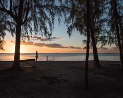 Day's end - Choisy, Mauritius [Explored 09-09-16] (Bon Espoir Photography) Tags: sunset daysend sea beach woman hat trees coast sky clouds nature mauritius indianocean island holiday tourist nikond750