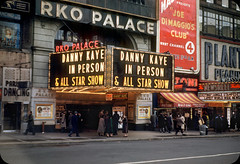 RKO Palace, Times Square, NYC  1953 (ElectroSpark) Tags: newyorkcity streetphotography kodachrome film vintage advertising taxi retro signs movie theatre theater