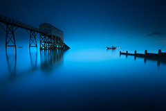 Ethereal (Explored) (shutterbug_uk2012) Tags: selsey lifeboat station sussex uk seascape long exposure moonlight sea calm blue water reflections pier boat new colour nikon d810 lee filters