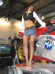 sexy model (themax2) Tags: legs denim miniskirt highheels tagme 2005 milano hostess girl promoter eicma