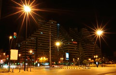 City street in night, Valencia, Spain (marozn) Tags: office highrise modern modernist spain valencia street cathedral square town community cars view illuminated european urban landmark traffic avenues night important old main evening people dusk twilight minaret vehicle building dark historic showplace architecture spanish city miguelete home house placa micalet valencian scene plaza europe road reina summer spring serranos