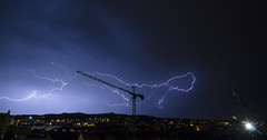 Lace (Lolo_) Tags: marseille clair orage foudre grue nuit lightning storm crane france