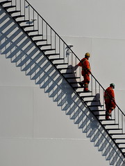 Me and My Shadow ([dscphoto]) Tags: painters workers industrial commercial tanks shadows stairs men work painting toronto lines