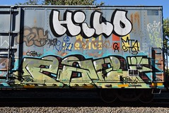 HILO PAZ (TheGraffitiHunters) Tags: graffiti graff spray paint street art colorful freight train tracks benching benched hilo floater paz boxcar