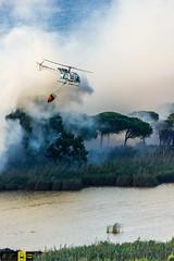Incendio platamona (10) (Autolavaggiobatman) Tags: pineta elicottero stagno fiamme fumo mare sardegna canadair fuoco incendio platamona