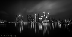 Singapore Skyline (Gerald Ow) Tags: geraldow canon eos 5dmkii singapore cbd business district nightshot long exposure black white bw zeiss distagon 15mm f28 monochrome