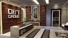 Macassar Wood Reception Lobby Design (andrei.pastushuk) Tags: luxury office reception desk interior design architecture symmetrical highend stylish concrete lighting wood macassar zebrano industrial zen andreipastushuk apdesign art deco decor contemporary modern indoor