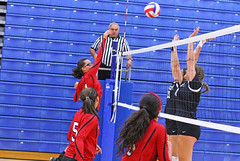 IMG_3059 (SJH Foto) Tags: girls volleyball high school mount olive mt team tween teen teenager varsity net battle spike block action shot jump midair