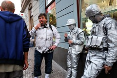Popsickles and cigarillos (tomavim) Tags: popsickle cigarillo silver streetperformers street iloveprague prague touristic