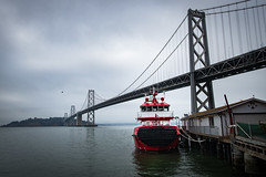 So new it doesn't have a name (hjl) Tags: morning baybridge waterfront sanfrancisco treasureisland overcast embarcadero fireboat firedepartment california fog