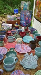 Iris Fest August 2016 in the Rain (Chipmunk Hill Arts) Tags: katiewolfe katie art artist clay ceramics bloomingtonindiana b3gallery d e f glazedstoneware handmade indiana imagination j k lkatiewolfe lothlorien m nature newwork original oneofakind oneatatime outside rain southernindiana stoneware woods woodland iric iriscamp irisfestaugust1016