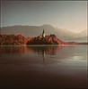Bled in red (steve-jack) Tags: hasselblad 501cm 80mm cb kodak aerochrome bw 099 filter lake bled church slovenia film medium format 120 6x6