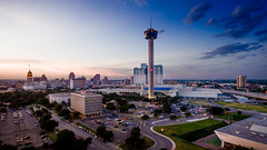 San Antonio, TX from a couple feet up (Definitive HDR Photography) Tags: sanantonio texas unitedstates us dji phantom professional pro drone quadcopter downtown towerlife towerofamericas hotel hotels tourism city cityscape sunset henry gonzalez convention center sky clouds brandon watts definitivehdr photography hdr lightroom