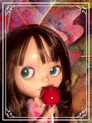 Blythe-a-Day October#8: Autumn Leaves or Spring Flowers: Rosalind Thinks of Fall
