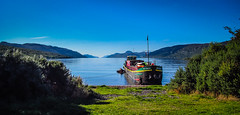 A 'Monster' boat on the shores of Loch Ness (Superali007) Tags: roscrana cruisebarge lochness highlands highland scotland scottish scenic sky water inverness invernessshire canon canonpowershotd30 blue boat cruise caledoniandiscovery