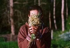 (Hijo de la Tierra.) Tags: film analog 35mm vintage old grain nature portrait hands flowers countryside uruguay boy