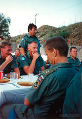 Battalion Commander holding a speach at a 4-3 HQ (Normann Photography) Tags: 1992 43hq fntjeneste hagruphaukland kontigent29 lebanon peacecorps unservice unifil unitednations unitednationsinterimforceinlebanon compactfilmcamera peacekeepers kaoukaba nabatieh lb