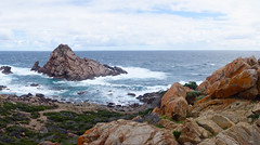 I Am A Rock.. (setoboonhong) Tags: nature outdoor sea coast western australia indian ocean sugarloaf rock bushes lichen waves windy landscape song simon garfunkel i am a 1966