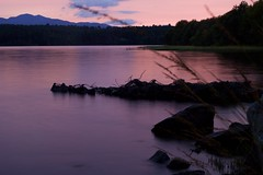 Polarising Filter (MigKenzie Photos) Tags: landscape eigh loch migdale sutherland scotland highlands water lake surface sunset pink blur long exposure mist waves rocks pier silhouette