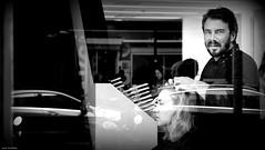 Coiffeur 1 (jaap spiering | photographer) Tags: jaapspiering jaapspieringphotographer jaapspieringfotografie blackandwhite monochrome zwartwit bw noiretblanc streetphotography street people mens mensen kapper hairdresser woman vrouw women vrouwen femmes femme portrait portret face gezicht closeup dream lips eyes hair mouth girl gx8 holland netherlands rotterdam 010 artist