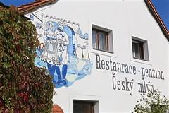 If you're ever in the area... 01 (smilla4) Tags: restaurant czechrepublic restauracepenzion ceskymlyn foliage signage wallpainting