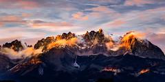 Fire Mountains (J C Mills Photography) Tags: austria tyrol tirol mountain mountains alps alpen kitzbuhel landscape light sunset clouds snow autumn wilder kaiser