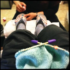 #Multitasking #LifeisGood #knitting #pedicure #queens #friday #fitflops
