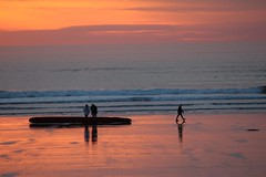 A magical sunset (thfr&I) Tags: blue sunset orange black reflections log waves peach silhouettes explore tofino wetsand bestofadministrativeawardsivshowcase thfri