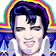 the King (AmeGigli) Tags: cadillac jukebox sorriso theking chitarra coreldraw elvispresley fansite illustrazione graficavettoriale elvisthepelvis capigliatura contestdesigncorel