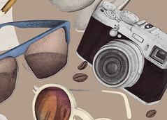 Herr Menig Optik in the Café (Philipp Zurmoehle) Tags: camera coffee café sunglasses illustration pencil germany glasses photo cafe hand drawing postcard nuremberg ad drawings spoon sugar drawn cappuccino interview nürnberg notepad optician handdrawn anzeige herrmenig