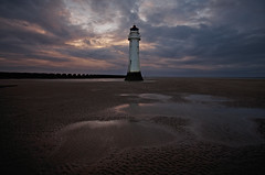 As darkness falls {Explored} (Chris Beesley) Tags: sea cloud sun lighthouse seaside sand newbrighton sigma1020mm perchrock pentaxk5