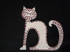 mosaïque chat, support porte-clés ou torchons (ademosa) Tags: cat chat gatto mosaique mosai porteclé torchons