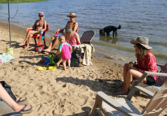 7548 (Jean Arf) Tags: sandlake ontario canada summer 2106 beach lake astrid poodle standardpoodle dog drink water claire bernese mountain scarlet
