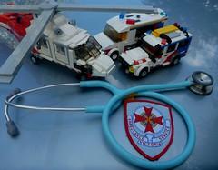 'Thank a Paramedic Day' (LonnieCadet) Tags: lego brick moc model car van 4wd helicopter 2016 australia custom eurocopter paramedic day july 28 stethoscope patch victoria ambulance emergency thank you littmann blue rotor dauphin