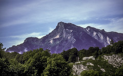Mountains near Salzburg (woodchuckiam) Tags: mountains salzburg austria peak rock trees sky clouds scenic landscape woodchuckiam
